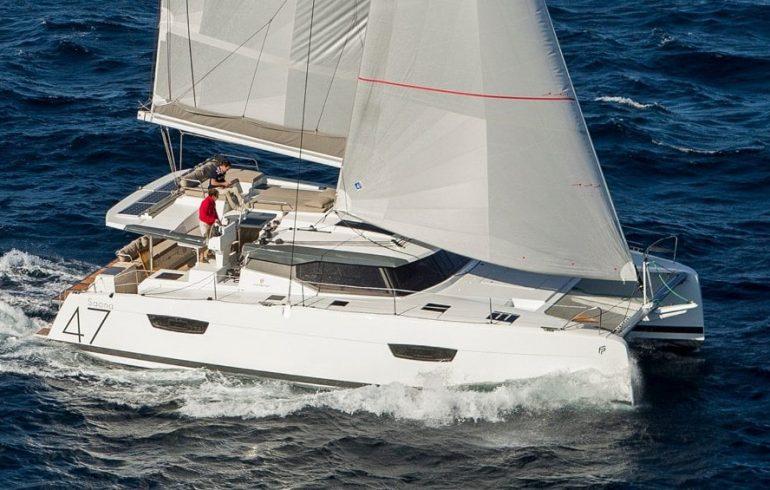 Sailing catamaran Saona 47 in waves