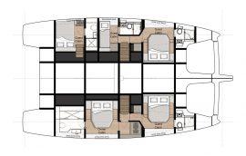 Cabin deck layout on Sunreef 50