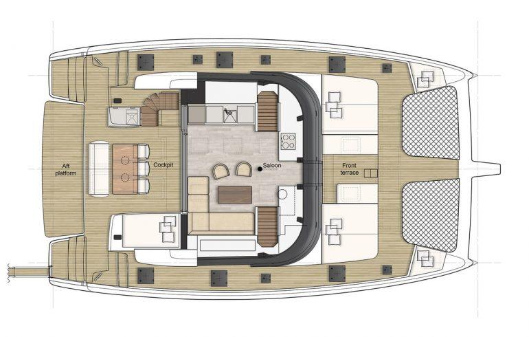 Main deck layout on Sunreef 50