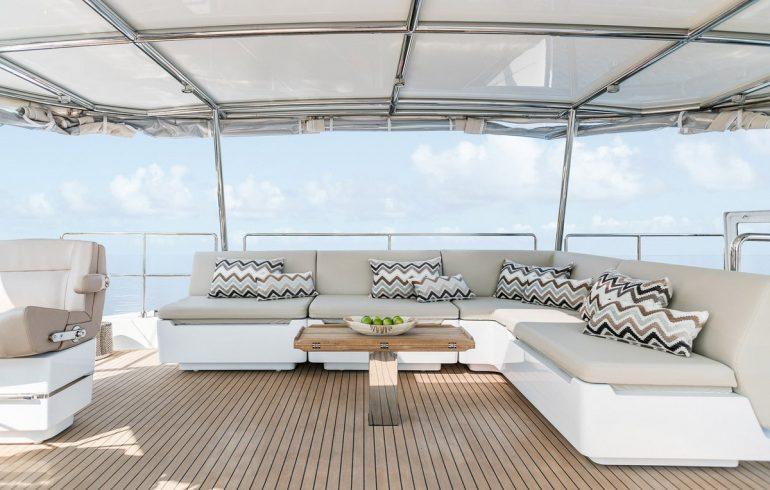 Cushioned sofa on Sunreef 50