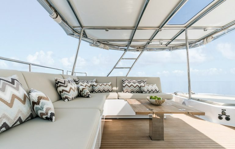 Upper deck on Sunreef 50 available for charter at Adriatic sea