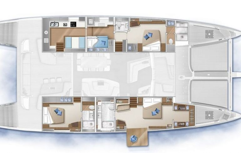 3 cabin layout with balcony on Lagoon 77