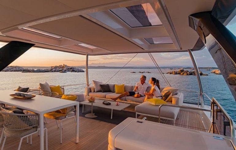 Sun deck with leisure area on board Lagoon 77