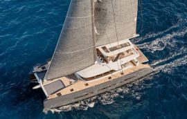 Lagoon Seventy 7 with fully operational sails on open sea