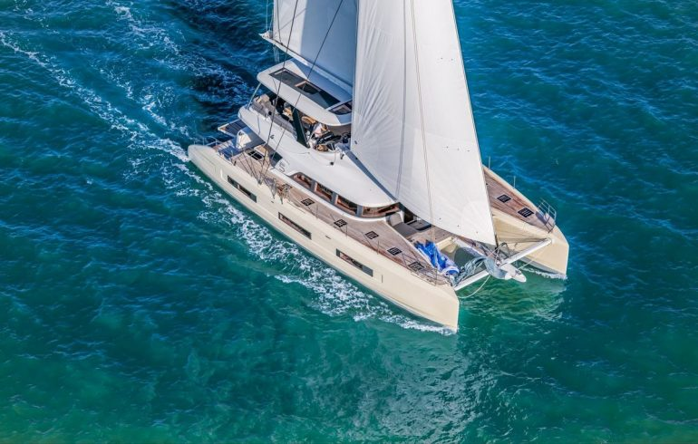 Sailing catamaran Lagoon Sixty 5 at Adriatic sea
