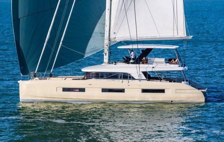 Catamaran Lagoon 65 sailing in Croatia with sails