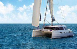 Bow deck on catamaran