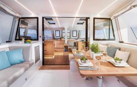 cushioned sofa on nautitech 46 sailing catamaran