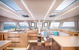 saloon and kitchen on nautitech 46 catamaran