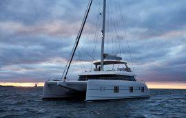Sailing catamaran sunreef 60 with closed sails