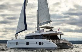 Catamaran sunreef 60 sailing in Croatia during the summer