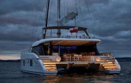 Two iluminated aft decks during the night on Sunreef 60