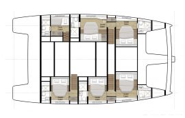 Layout with 5 cabins for guests on board Sunreef 60