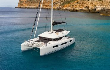Lagoon 50 anchored in calm bay in Croatia