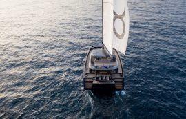 Catamaran sunreef 80 sailing in Croatia with fully opened main sail and genoa sail